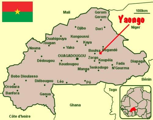 Carte de la situation Générale de Yaongo au Burkina Faso