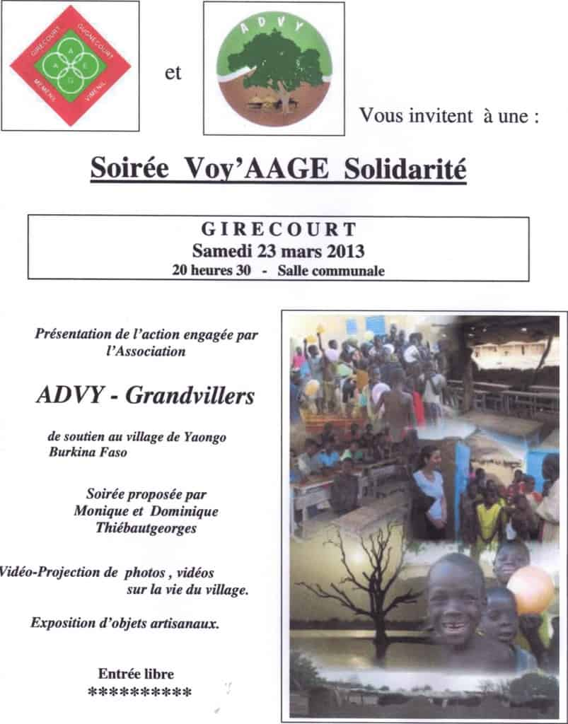 Affiche de la soirée voy'AAGE solidarité